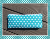 Small Pencil Pouch - Teal Polkadots