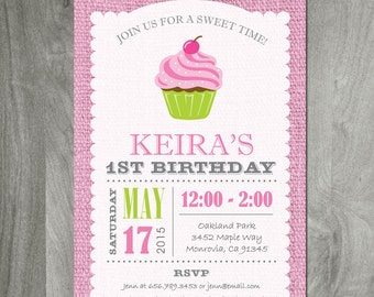 Cupcake Birthday Party Invitation - Pink Burlap Background Custom Personalized Diy Printable Party Invite, Digital Jpeg or Pdf File