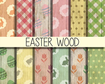 Easter wood digital paper, wallpaper clipart, Easter Clipart, Easter Paper, 12 digital paper, instant download, scrapbooking, web design