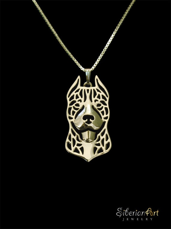 pitbull gold pendant and necklace