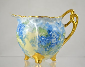 Vintage Hand Painted Blue Floral China Creamer c. 1940