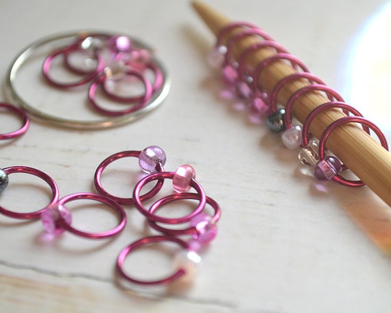 Hibiscus / Knitting Stitch Markers - Dangle Free Snag Free Knitting Stitch Markers - Small Medium Large Sizes Available