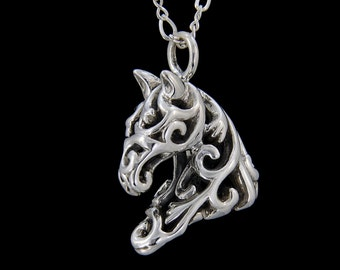 Filigree Horse Head in Sterling Silver by Jeni Benos of Jenuinely Jeni Inc Ivy Equestrian Necklace