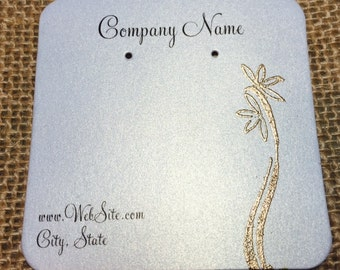 20 Elegant Flora Earring Display Cards - Hand Stamped & Embossed Flora, Customize Any Embossing Color (Silver, Bronze, misc)