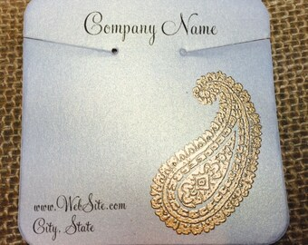 20 Paisley Necklace Display Cards - Hand Stamped & Embossed Paisley, Customize Any Embossing Color (Silver, Bronze, misc)