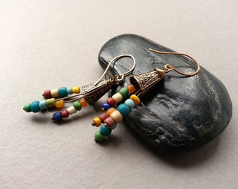 Rustic Colorful Brass Earrings, Indonesian Glass Beads, Brass Ear Wires, Brick Red, Teal Blue, Fern Green, Sky Blue, Boho Dangle Earrings