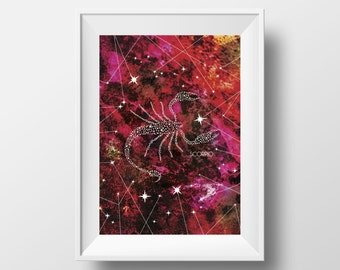 Zodiac Wall Art, Scorpio, 8.5x11 Prints