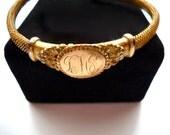 Antique Victorian Gold Mesh Coil Bracelet 1800s