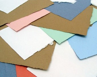 SALE Handmade papers, 50% off random sizes and colors, 20 sheets