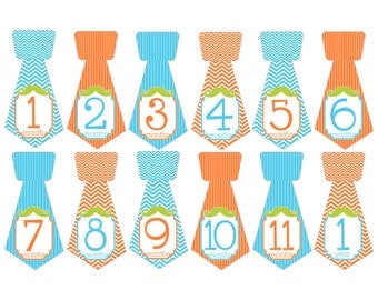 Set of 12 Tie Shape Monthly Milestones Stickers with Mustache in Aqua, Orange and Lime Green Keepsakes for Baby Boys T029