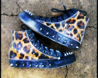 Studded Leopard Punk Sneakers