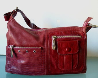 Berge Made in Italy Cherry Red Distressed Leather  Bag