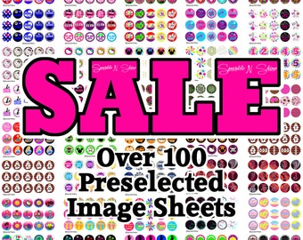 New 2015 Sale A - 1 inch Circles - Instant Download Bottle Cap Image Sheet  (includes OVER 100 PRE-Selected image sheets shown)