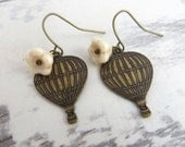 Hot Air Balloon Earrings -  Vintage Brass -  Vintage inspired Jewelry - Czech Flower Bead - Fly away with me