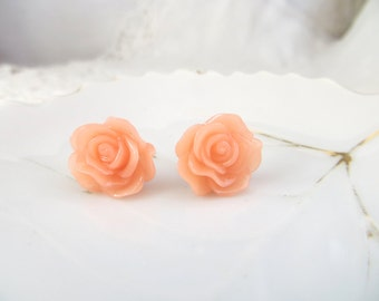 Coral Rose Earrings - Stud Earrings - Light Coral Stud Earrings - Resin Flower Jewelry - 13 mm Resin Rose - Bridesmaid Gift