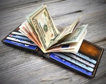 Leather Money Clip Wallet. Mens Leather Clip Wallet. Handmade Money Clip Wallet by Odorizzi, Italy