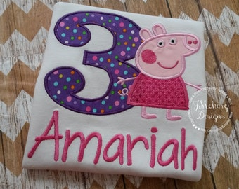 Peppa Pig Birthday Custom Tee Shirt - Customizable -  Infant to Youth 226