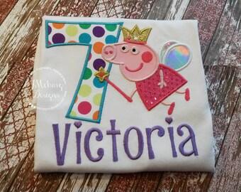 Peppa Pig Birthday Custom Tee Shirt - Customizable -  Infant to Youth 118