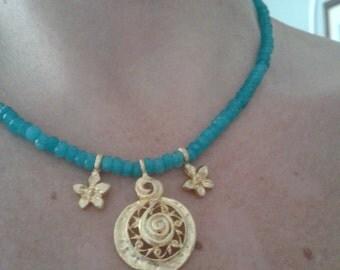Luxury matte gold and neon apatite colored quartz charm necklace