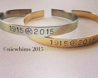 1915-2015 Brass/Nickel Silver Cuff