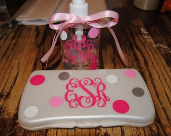 Personalized Baby wipe case and Hand Sanitizer Set Perfect for Baby Shower gift