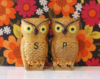 Vintage China Owl Salt and Pepper Pots Shakers Kitsch