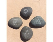 Rock Etchings - Four Elements; Earth, Air, Fire, Water, Pagan, Witch