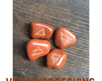 Element Etching Directional Stones - Jasper, Triangles, Altar Decor