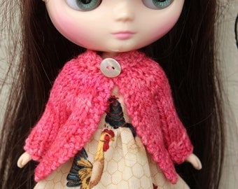 BLYTHE Middie doll hand knit wool cardigan sweater - Sweetheart pink