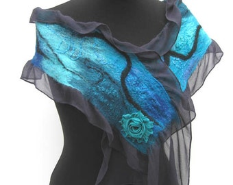 Turquoise Nuno Felted Silk Scarf