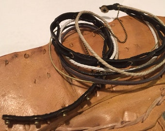 Leather wrap bracelet, black and white hemp strands. Adjustable.