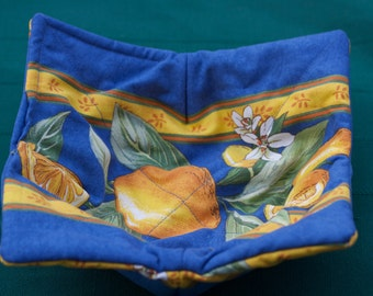 Microwave bowl holder.Bowl heat protection.Bowl cozy.Reversible , foldable and washable. French fabric from Provence ,France. Lemons in blue