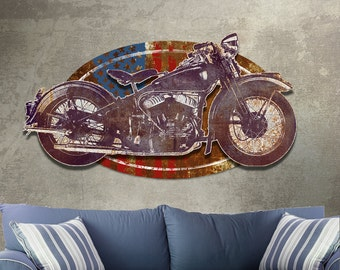 Metal Wall Art Vintage Motorcycle Sculpture