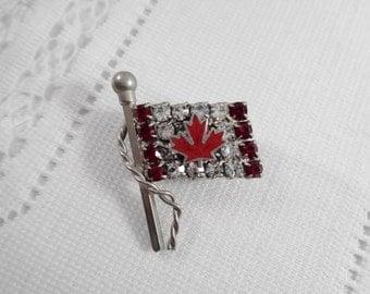 Vintage Rhinestone Canadian Flag Brooch with Maple Leaf