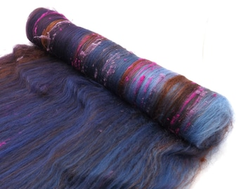 Textured spinning batts - 21 micron Merino - Silk - Noil - 100g - 3.5oz - OUDH