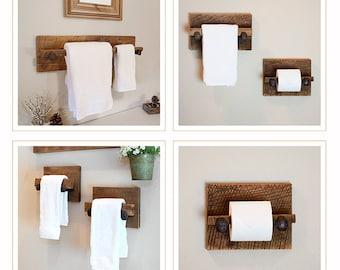 Reclaimed Bath Rack Set - Large reclaimed towel hanger, two hand towel holders and toilet paper holder