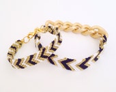 Mommy and me Black, white, and gold chevron patterned friendship bracelet