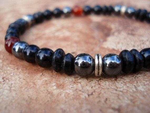Black Onyx Bracelet, Black Wood Bracelet, Hematite Bracelet, Stretch Bracelet, Stackable Bracelets, Gemstone Bracelet, Beaded Bracelet