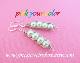 Four peas in a pod earrings - Choose your color! Made to order