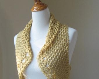 BEIGE BOHO VEST Crochet Gypsy Vest, Medium Size Boho Vest, Medium Size Gypsy Vest, Feminine Vest, Dark Beige Vest, Flower Brooch