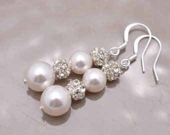 Swarovski Pearl and Rhinestone Earrings, Pearl Bridal Earrings, Long Pearl Earrings, Pearl and Crystal Earrings, Long Wedding Earrings 0031