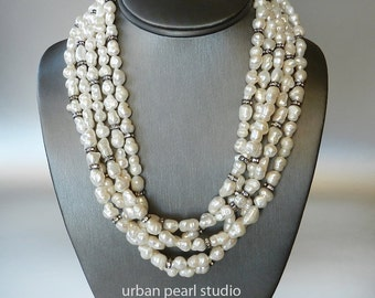 Multi Strand Baroque Pearl Necklace Black and White Bridal Necklace Chunky Layered Pearl Necklace