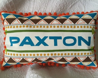 Hand Painted Aztec Themed Pillow. Personalized with Name.