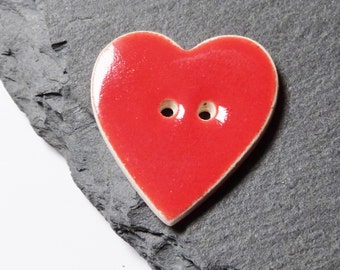 Light Red Ceramic Button Heart Shaped