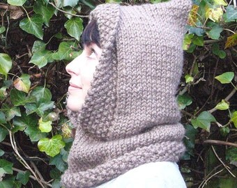Hooded cowl - taupe gold glitter