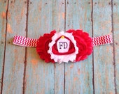 Baby Flower Headband // Red Firefighter Clip-on (Dual Use) Flower Headband