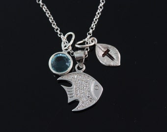 Fish Necklace, Personalized fish Necklace, 925 Sterling silver fish Pendant and chain, Choose initial and birthstone, 7180