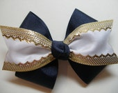 Uniform 4 inch bow You Pick color White and Gold with Navy Black Maroon Khaki Red Light Blue