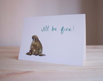 Optimistic Walrus  - Greetings Card