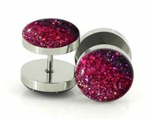 Blacken Pink Ombre Sparkle Fake Plugs  - 12mm,14mm - 18g